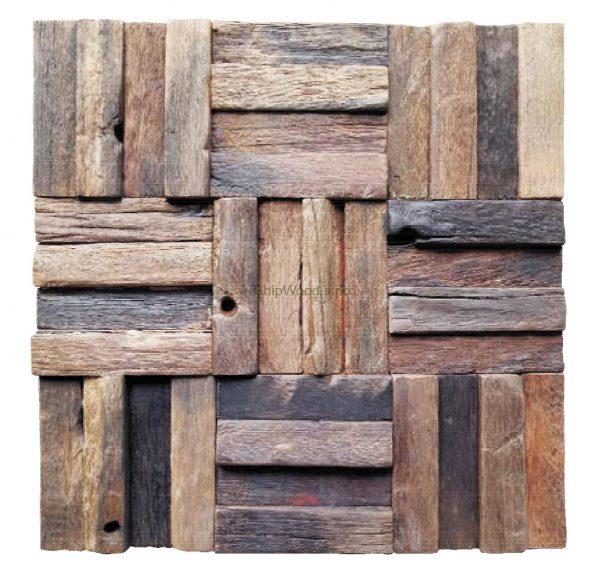 Dřevěná lodní mozaika - obkladová dlaždice 30 x 30 cm_model SHW 3238 1