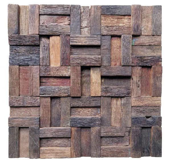 Dřevěná lodní mozaika - obkladová dlaždice 30 x 30 cm_model SHW 3227 1