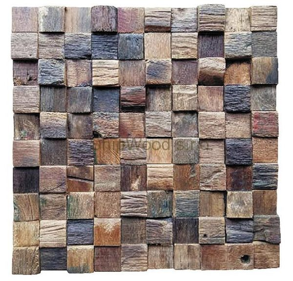 Dřevěná lodní mozaika - obkladová dlaždice 30 x 30 cm_model SHW 3236 1