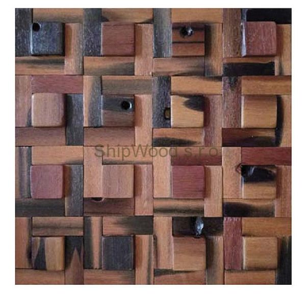 Dřevěná lodní mozaika - obkladová dlaždice 30 x 30 cm_model SHW 3106 1