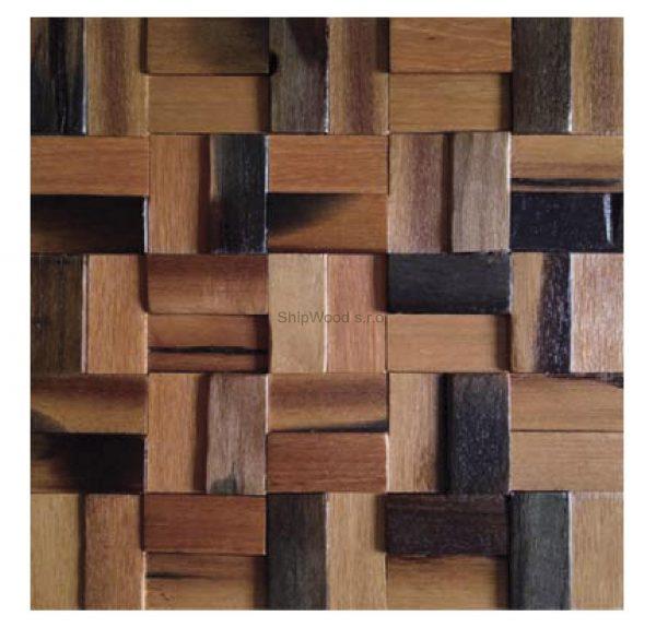 Dřevěná lodní mozaika - obkladová dlaždice 30 x 30 cm_model SHW 3184 1