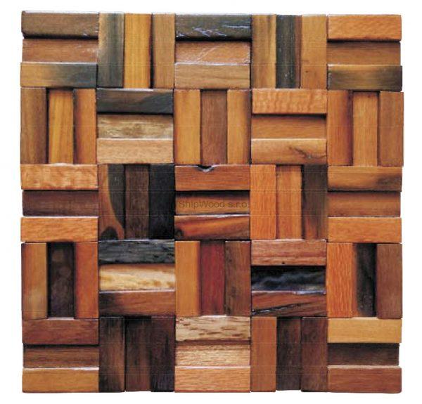 Dřevěná lodní mozaika  - obkladová dlaždice 30 x 30 cm_model SHW 3113 1
