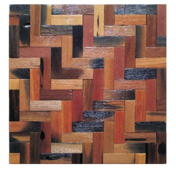 Dřevěná lodní mozaika - obkladová dlaždice 30 x 30 cm_model SHW 3118 1