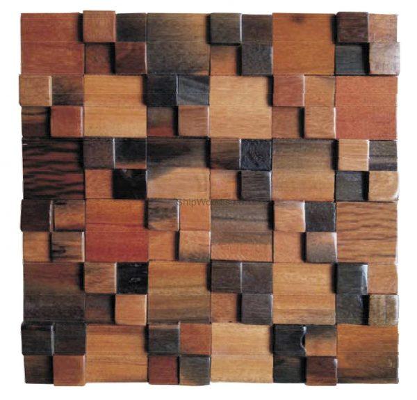 Dřevěná lodní mozaika - obkladová dlaždice 30 x 30 cm_model SHW 3122 1