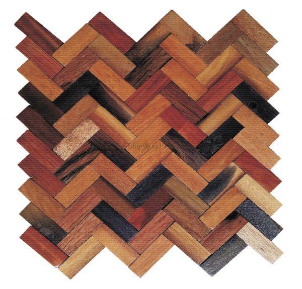 Dřevěná lodní mozaika - obkladová dlaždice 30 x 30 cm_model SHW 3193T 1